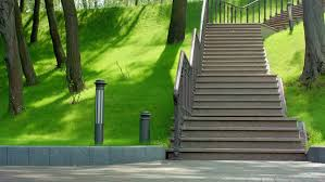 Steps With Handrails Stairs Park Staircase At Park In Spring Park Steps And Green