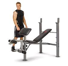 amazon com marcy classic standard bench with arm curl standard