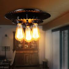 3 Bulb Flush Mount Ceiling Light Fixture Industrial 3 Light Black Gear Metal Semi Flush Mount Exposed