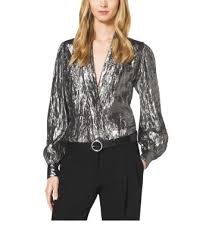 michael kors blouses crushed silk lamé wrap blouse michael kors