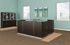 Reception Desk With Transaction Counter Mocha Finished L Shaped Reception Desk With Glass Transaction