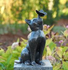 cat garden ornaments outdoor garden yard cat mouse