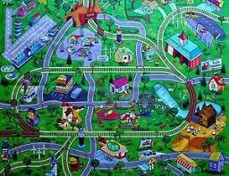 large town airport train track street road play mat car farm kid