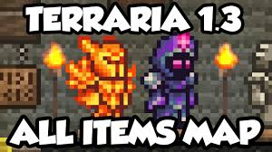 All Items Map Terraria Terraria 1 3 1 All Items Map Every Item In Terraria 1 3 World