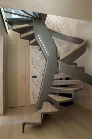 contemporary staircase with interior wallpaper by home