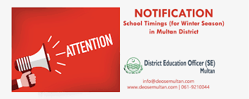 school timings for winter season in district multan district