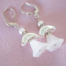 white glass angels silver leverbacks christmas earrings