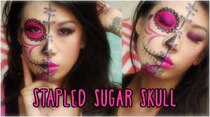 stapled sugar skull face paint youtube