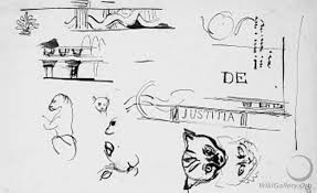 les chambres de l h e antique a sheet of studies of the heads of cats architectural motifs and