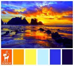Sunset Orange by Golden Sunset Golden Orange Umber Yellow Pastel Blue Blue