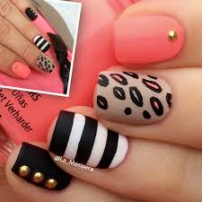 very cute black white coral u0026 nail design with stripes