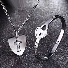custom necklaces for couples real lock and key engraved bracelet necklace couples jewelry