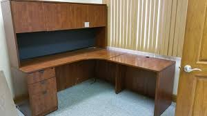 Brown Office Desk L Shape Office Desk With A Hutch Furniture In Fort Lauderdale Fl