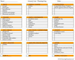 thanksgiving thanksgiving grocery list free printable menu