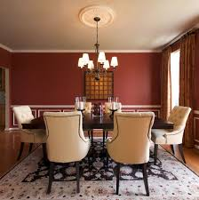 modern red dining room white candle wooden varnished chairs red