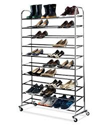amazon com shoe organizer chrome shoe storage supreme 50 pair