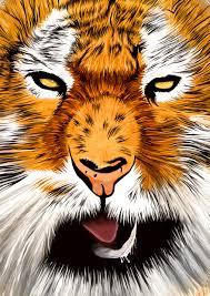 tiger print digital animal wall decor portrait tiger poster
