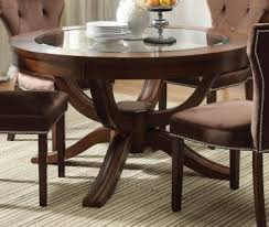 acme kingston glass top round pedestal dining table in brown