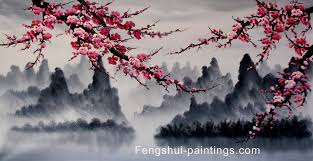 cherry blossom tree chinese feng shui painting chinese cherry blossom painting