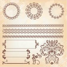 collection of ornate page decor elements borders banner