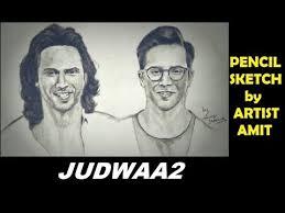 pencil sketch of judwaa 2 movie poster featuring varun dhawan
