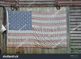 American Flag Wall Hanging Close Cropping Faded American Flag Hanging Stock Photo 14284312