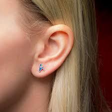 stud ear trek delta enamel stud earrings division colors thinkgeek