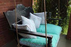 diy porch swing featuring a repurposed headboard