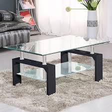Living Room Furniture Tables Suncoo Coffee Table Clear Glass Top With Shelves For