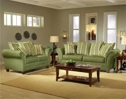soft green sofa combined with grey walls for cozy living room