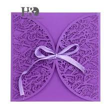 butterfly wedding invitations 600pcs lot purple laser cut butterfly wedding invitation cards