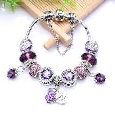 pandora bracelet charm bracelet images New european antique silver purple rhinestone charm handmade jpg
