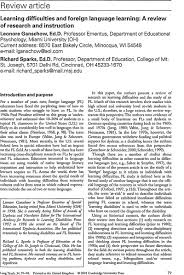learning difficulties and foreign language learning a review of