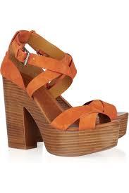ralph lauren collection alannah suede sandals pastel orange aemow