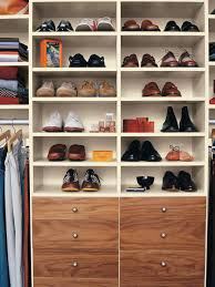 Closet Shelving Systems L Shape White Wooden Closet For Shoe Storage With Lightings And