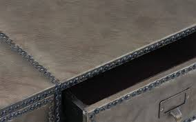 faux leather coffee table micah traditional faux leather coffee table sofamania com