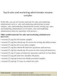 Sales And Marketing Resume Examples by Top 8 Sales And Marketing Administrator Resume Samples 1 638 Jpg Cb U003d1431789919