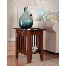 chairside table with charging station mission chair side table with charging station in walnut walmart com