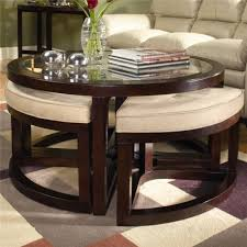 coffee table stacking round glass coffee table set brass juniper cocktail table with four ottomans by magnussen home wolf