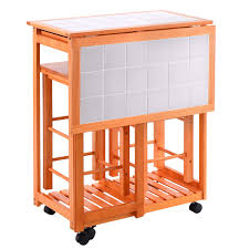 rolling kitchen island trolley cart drop leaf table w 2 stools