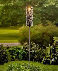 solar light stake cylinder lantern scroll design garden driveway