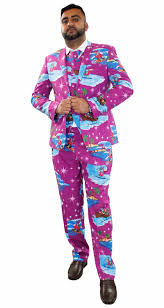 christmas suit new mens christmas fancy dress novelty print deluxe festive costumes