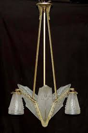 antique art deco french schneider glass slip shade chandelier