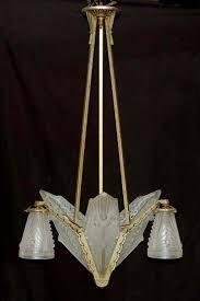 French Chandelier Shades Antique Art Deco French Schneider Glass Slip Shade Chandelier