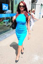 viagra commercial actress in blue dress moda e amor amy childs formfitting blue dress on a sunny day in london