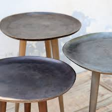 round metal side table into mills round metal side tables set of 3