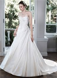 ball gown strapless low back ruched satin wedding dress