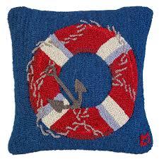 coastal inspired u0026 nautical hooked pillows wool hook pillow