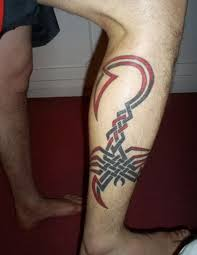 mens leg with tribal scorpion leg tattoos for