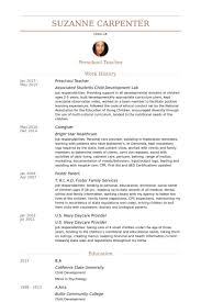 Preschool Teacher Resume Template Infant Teacher Resume Best Resume Collection